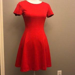 Banana Republic red knit dress w/back gold zipper